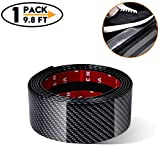 Universal Car Door Entry Guards Scuff Plate Protectors Paint Threshold Guard,Carbon Fiber Rubber Car Bumper Door Guard/Rear Bumper Guard Scratch Protection Strip 100% Waterproof(Width 2in,Long 9.8Ft)