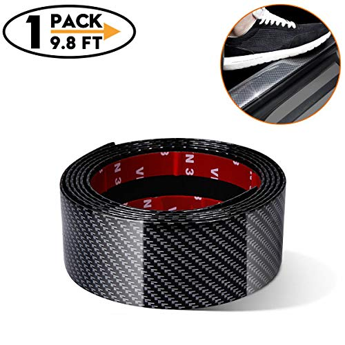 Universal Car Door Entry Guards Scuff Plate Protectors Paint Threshold Guard,Carbon Fiber Rubber Car Bumper Door Guard/Rear Bumper Guard Scratch Protection Strip 100% Waterproof(Width 2in,Long - Strip Guard