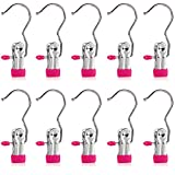 Set of 10 Closet Hanger Laundry Hooks Boot Clips Home Office Travel Portable, Hot Pink