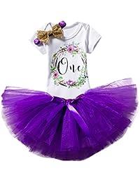 Girl Newborn Baby's 1st Birthday Set/Outfits with Romper + Tutu Dress + Headband