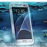 Scheam Samsung Galaxy S7 Edge Waterproof Case Support Wireless Charging Built in Curved Screen Protector Rugged Backcover Shockproof Transparent Cover Waterproof case Compatible with Samsung Galaxy
