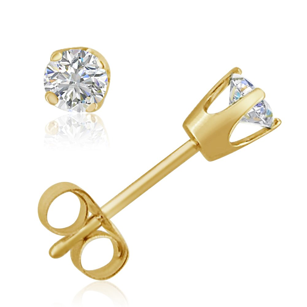 AGS Certified 1/3ct TW Round Diamond Stud Earrings in 14K Yellow Gold