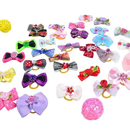 Diva Dog Bows - Wildgirl Cute Dog Hair Accessories Rhinestone Pearls Flowers Bows Topknot Mix Styles 20 PCS