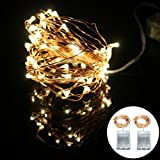 50 rice lights - 2-Packs String Lights Copper Wire, Kakashi 16ft 50LED Starry String lights, AA Battery Powered Rope Lights Copper Wire for Christmas Wedding Party, Indoor Outdoor String Lights. (Warm white)