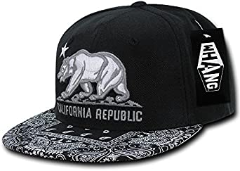 California Republic Baseball Cap Bear Embroidered Snapback CALI Floral Hat Mens