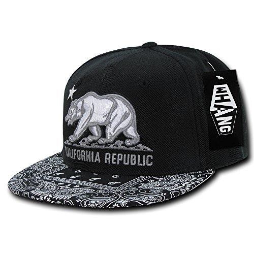 WHANG California Republic Snapback HAT - Cali Bear Bandana Black