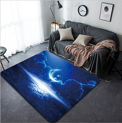Vanfan Design Home Decorative Eid Mubarak background with shining moon and stars holy month Ramadan Kareem glowing horizon Modern Non-Slip Doormats Carpet for Living Dining Room Bedroom Hall by vanfan