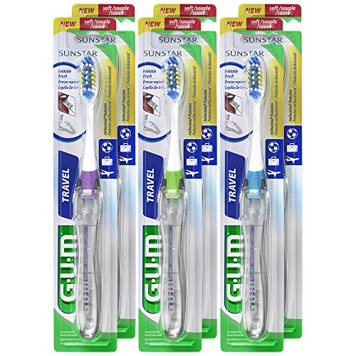 GUM Folding Travel Toothbrush with Antibacterial Soft Bristles (Pack of -