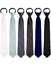6 Pack Boys' Satin Zipper Neck Tie Pre-tied Adjustable Neck Strap Tie