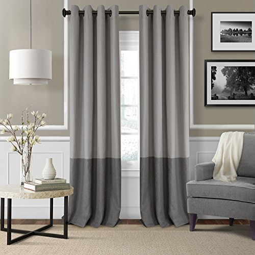 Elrene Home Fashions Braiden Room Darkening Window Panel 52-Inch by 84-Inch, Gray