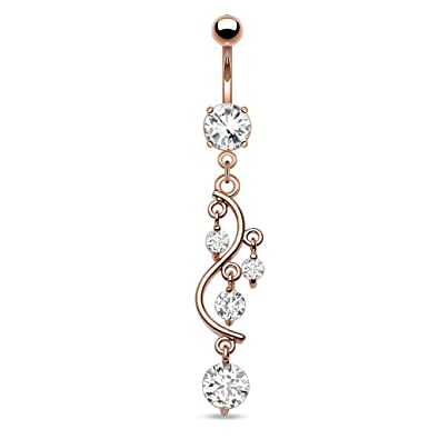 Vine With Dangling Gems Rose Gold Plated 14g Navel Dangle Belly Button Ring