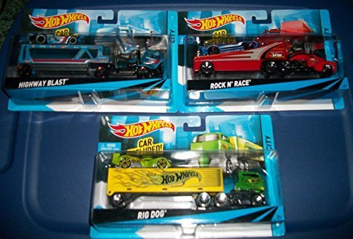 (3) Hot Wheels Truck and Trailers with Car Included/ Rig Dog/Highway Blast/Rock and Race (Hot Dog Truck Toy compare prices)