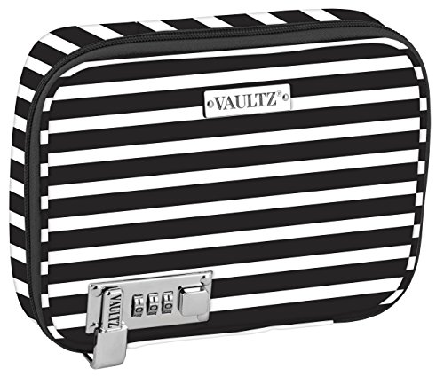 Vaultz Locking Everyday Case for Cosmetics Storage, Black and White Stripe (VZ03756)