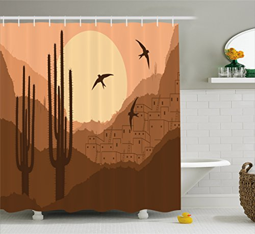 Lunarable Country Shower Curtain, Wild Desert Canyon Mexican Town Sundown Hot Weather Swallow Silhouette, Cloth Fabric Bathroom Decor Set with Hooks, 84 Inches Extra Long, Brown Burnt (Canyon High Country Rug)