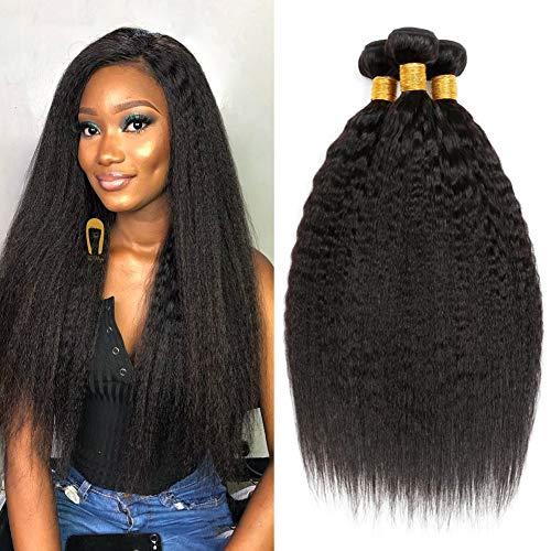Clarolair Kinky Straight Brazilian Hair Weave Bundle Coarse Yaki Human Hair Bundles Yaki Straight Hair Extensions Non Remy Hair Natural Black Color 95g±5g/Bundle 12 14 16 ()