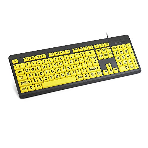 XDL-POWER Large Print Computer Keyboard with Yellow Keys & Black Over-Sized Letters for Visually Impaired, Low Vision Individuals ()