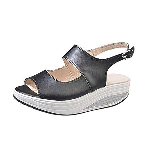 fd0f3750d55445 Sandales Compensées Femme Été Chaussures Daim à Hauts Talons Pointure Large  Platform Plates Espadrilles Style Bride Cheville Femme Noir: Amazon.fr: ...
