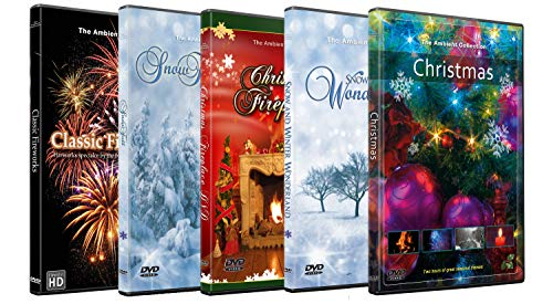 5 Christmas and New Year Festival DVD Combo Pack - Fireplace, Fireworks and Winter Season in HD
