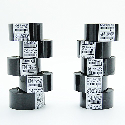 10 Rolls Black Hot Stamp Ribbon FC2 30mm x 100m For Coder Printer Machine