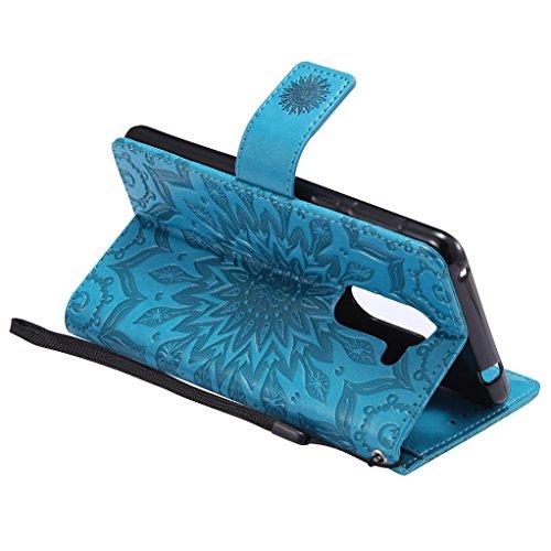 Trumpshop Smartphone Carcasa Funda Protección para Huawei Honor 6X [Marrón] 3D Mandala PU Cuero Caja Protector Billetera Choque Absorción Azul