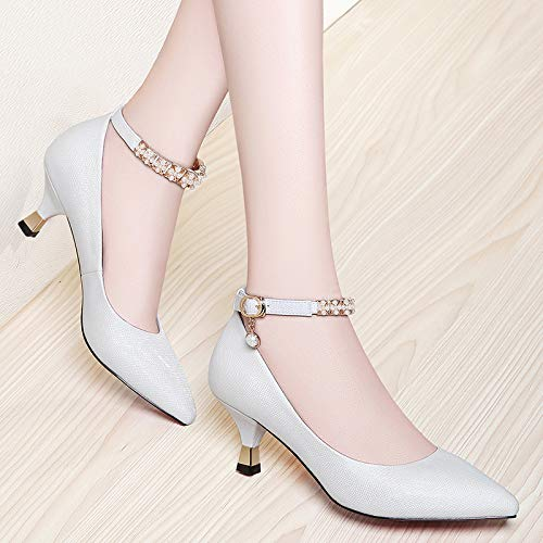 Small Heel Women'S Fine heels Single Women'S 36 Pointed Yukun Shoes Shallow Versatile Shoes White Shoes White Mouth Shoes With High Autumn Women'S High vCqxx58wUW