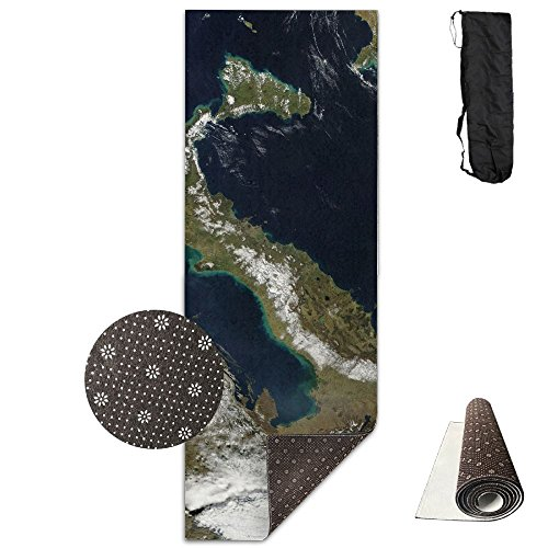 Italy From Space Space Europe Mediterranean Sea Navy Yoga Mat,Crystal Fabric,bottom Non-woven Point Plastic. by Matbt