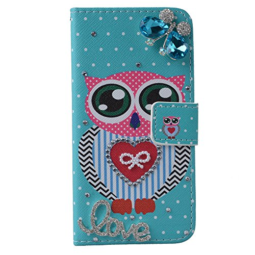 EVTECH(TM) für iphone 5/5s 3D Bling Strass Flip Leder Schale Tasche Glitzer Magnet PU Blume Diamant LOVE Flip Case Kamelien Diamant Krone Crown 3D Hülle Crystal Handy Cover Etui