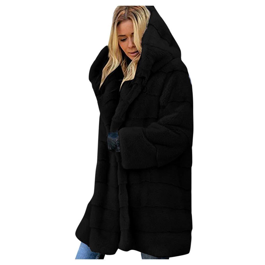 Fammison Plus Size Women Warm Fleece Vintage Winter Coat Hood Jacket Parka Outwear Long Jacket Hooded Overcoat Black by Fammison