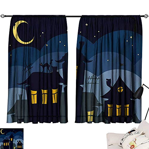 Halloween Sliding Curtains Old Town with Cat on The Roof Night Sky Moon and Stars Houses Cartoon Art Darkening and Thermal Insulating