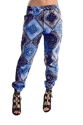 American Bazi Women's Bandana Print Twill Jogger Pants RJJ182 - NAVY - Small (Bandana Print Clothing)