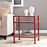 Southern Enterprises Glass End Table, Red Finish