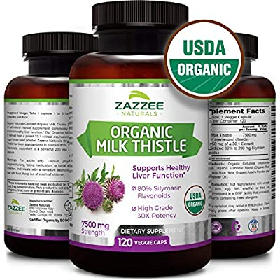 Organic Milk Thistle | 7500 mg Strength | 120 Veggie Caps | 80% Silymarin Flavonoids | Potent 30:1 Extract | USDA Certified Organic | Non-GMO and All-Natural | Vegan | Extra Strength Liver Detox