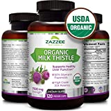 Cheap USDA Organic Milk Thistle | 7500 mg Strength | 120 Veggie Caps | 30X Concentrated | 80% Silymarin Flavonoids | Non-GMO, Vegan and All-Natural | USDA Certified Organic | Extra Strength Liver Detox