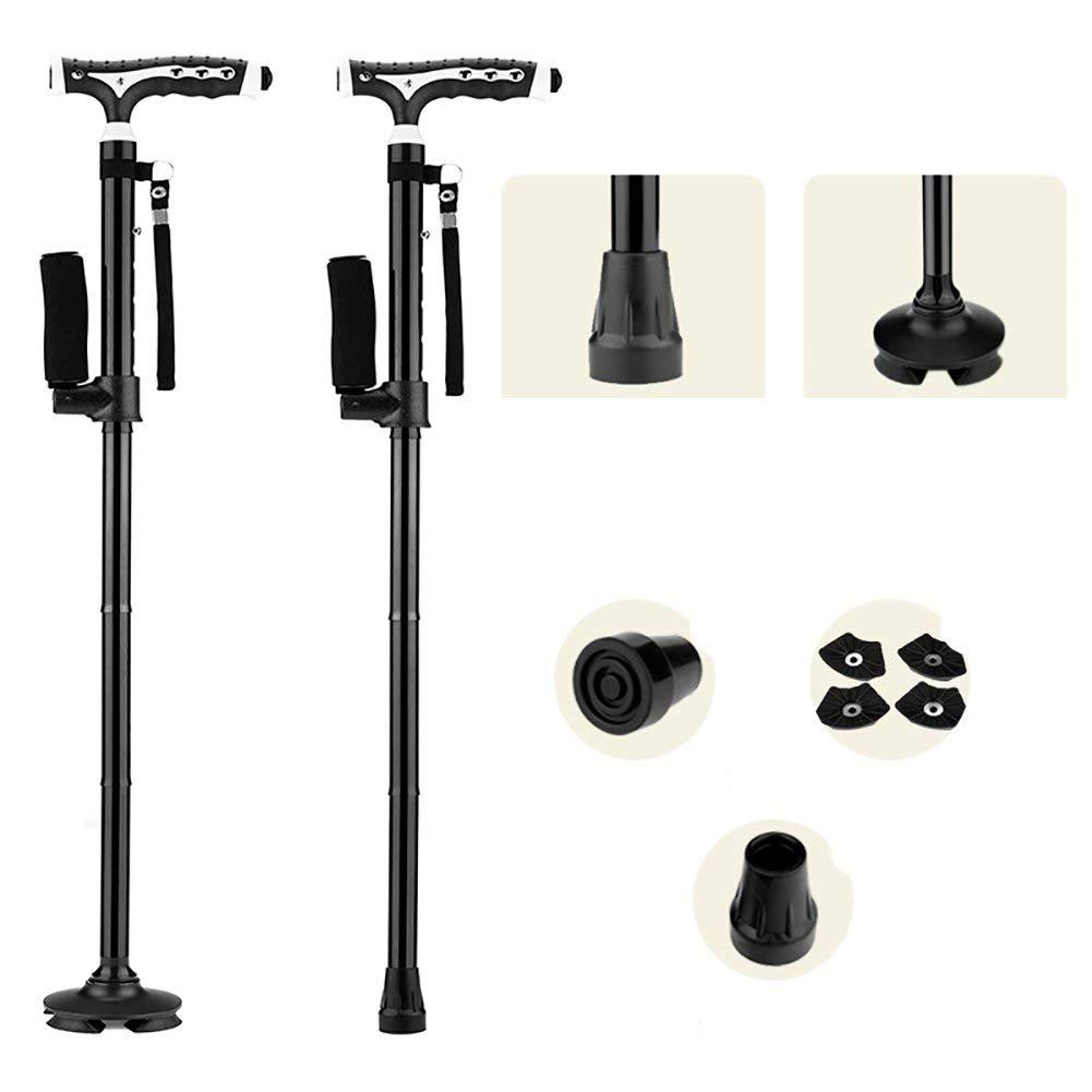 Huikafir Alpenstock Klappspazierstock mit Einstellbarer Höhe Leichter Cane mit eingebauten LED-Leuchten Rutschfestes Unisex Trekkingstange