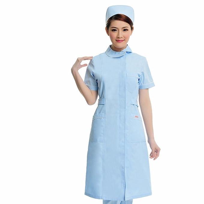 Xuanku Desgaste De Las Enfermeras Farmacias De Manga Corta, Belleza Trajes, Batas Blancas Y Overoles Blancos: Amazon.es: Ropa y accesorios