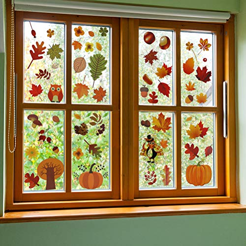 Korlon 216 Pcs Fall Leaves Window Clings, Thanksgiving Window Clings Autumn Stickers Decorations for Glass Windows
