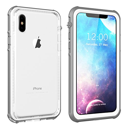 Original Full Housing Cover (iPhone X Waterproof Case, Vapesoon Waterproof Shockproof Snowproof Clear Slim Armor Case for iPhone X (Grey-White/transperant) (Gray/White))