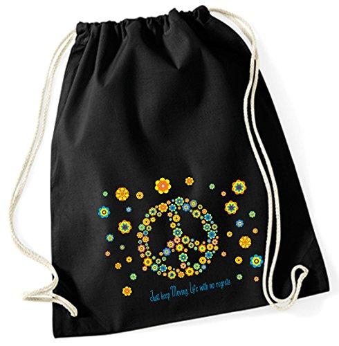 Yute bolsa de deporte bolsa bolsa de deporte bolsa de tela bolsa funda de algodón Mochila con cordón Cotton bordar Peace Flower (Diseño 65, Negro)