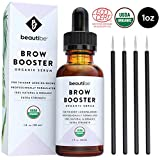 Eyebrow Growth Serum with Castor Oil (1oz) - Natural + Organic - Brow Hair Conditioner. Thickening Enhancer for Eyebrows. Regrowth Treatment Drops to Boost Repair & Grow Thicker Brows + Applicator Kit