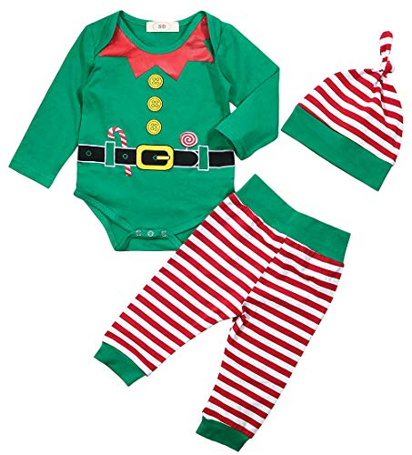 Baby Boy Girl Christmas Elf Outfit Set Xmas Bodysuit Striped Patns with Hat Size 12-18Months/Tag90 (Green)