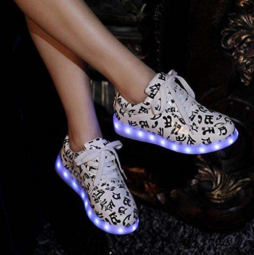 Zapatos Cordón Zapatos De 34 De Carga Deportivos USB Zapatos Del Luminosos 46 Deportivos Led Ronda Luz Zapato White De De Zapatos Bombas De Unisex Carga Zapatos Tamaño UE HYqEwx0