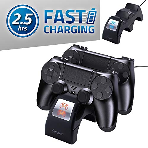 Insten Controller Charger For PS4 Dual USB Fast Charger Station Dock with Charging Status Display Screen Compatible with Sony Playstation 4 / PS4 Slim / PS4 Pro Controller Docking Charge Cradle Stand