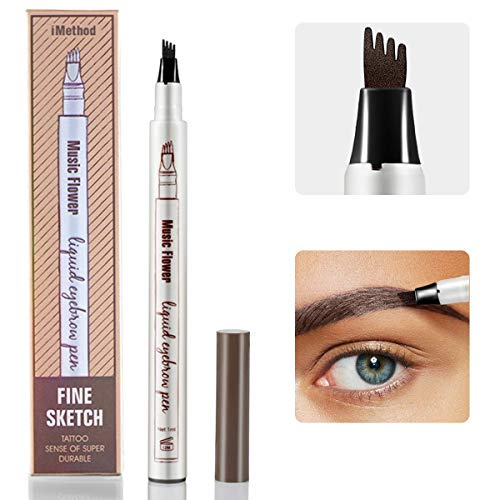 Eyebrow Tattoo Pen - iMethod Microblading Eyebrow Pencil with a Micro-Fork Tip Applicator Creates Natural Looking Brows Effortlessly and Stays on All Day (Chestnut) ()