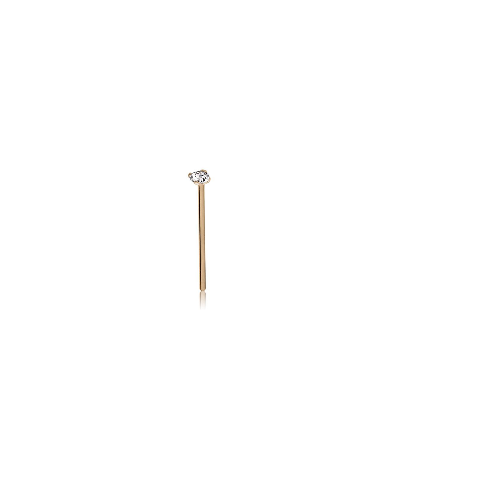 El Morro Body Piercing Jewelry 18K Gold 1.5Mm Prong Jeweled Straight Nose Stud Ring 20g