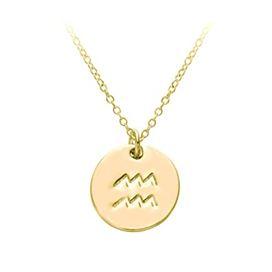 59a7bf3d5 HACOOL 18k Gold Plated 12 Zodiac Sign Tag Constellation Horoscope Astrology  Disc Charm Necklace Pendant (