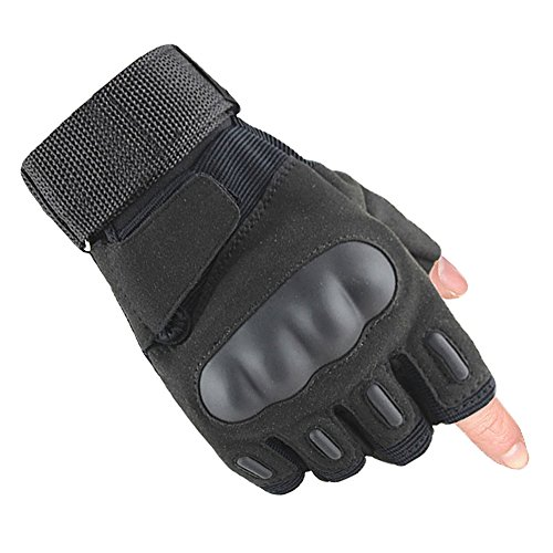 TClian Military Rubber Hard Knuckle Tactical Gloves Fingerless Half Finger Gloves for Men Fit for Airsoft Paintball Outdoor Army Gear Sports Cycling Motorcycle Riding Shooting Hunting (Black, M)
