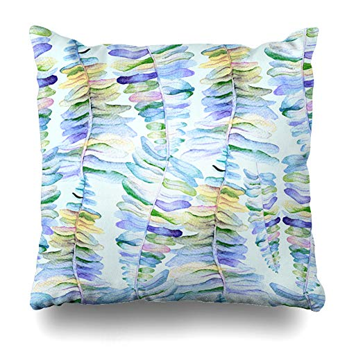 Ahawoso Throw Pillow Cover Bright Watercolor Allover Pattern Palm Fern Leaves Flower Parks Aquarelle Banana Design Spring Home Decor Cushion Case Square Size 16
