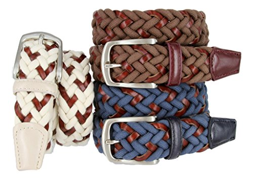 Woven Braided Cotton Fabric Leather Casual Dress Belt for Men Navy, White, or Black