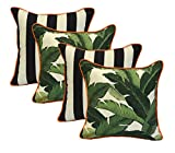 Set of 4 - Indoor / Outdoor 20'' Square Decorative Throw / Toss Pillows - Black and White Stripe & Tommy Bahama Green Tropical Swaying Palms w/ Orange Piping / Cording - Zipper Cover & Insert