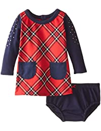 Baby Girls Plaid Knit Dress and Panty Set